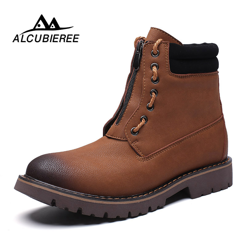 2018 Winter Men Ankle Boots Genuine Leather Snow Boots Low Heel Front Zip Natural Wool Male Warm Boots