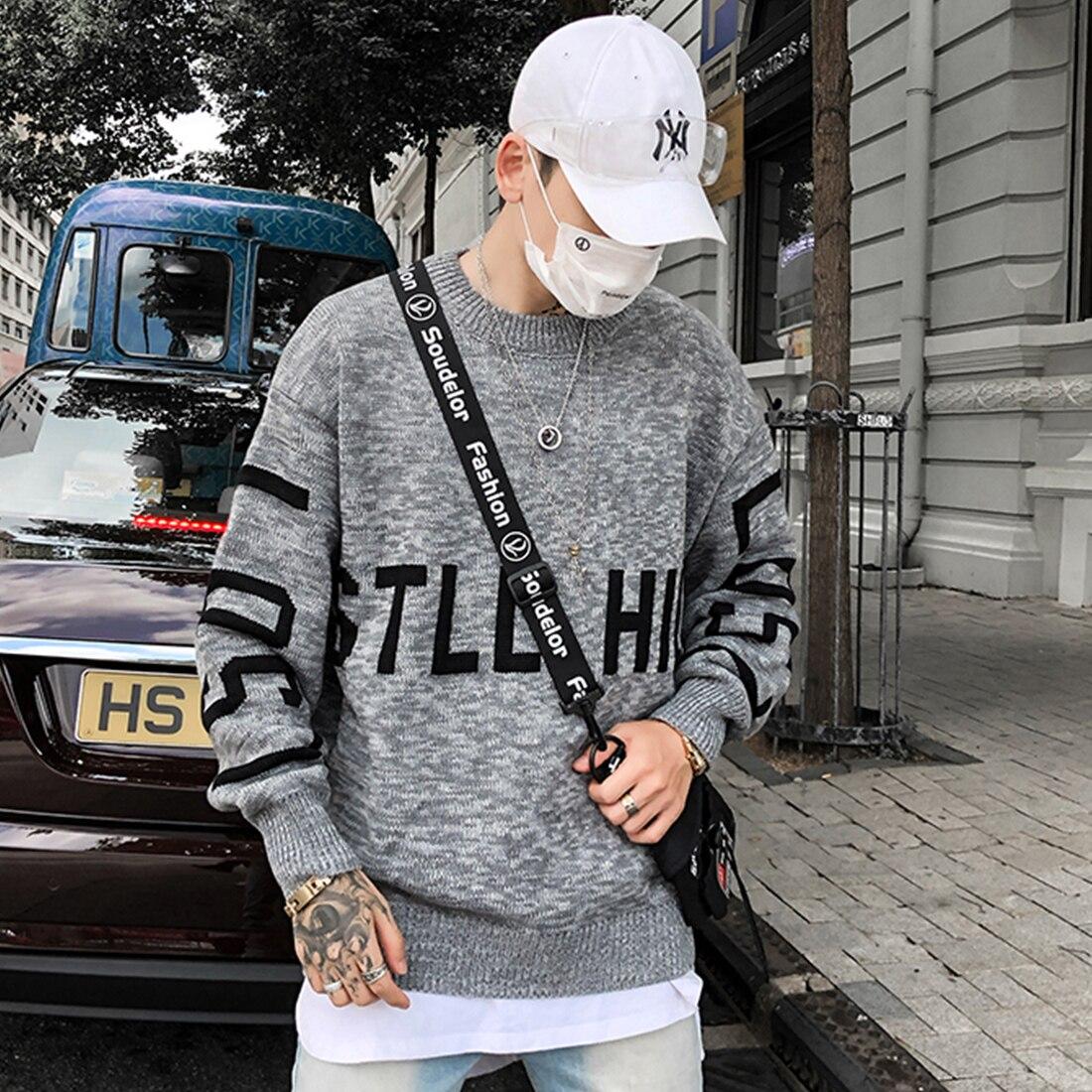 11 BYBB'S темно-буквенный принт мужские вязаные свитера 2019 Harajuku Хип-Хоп пуловер с длинным рукавом Верхняя одежда Повседневная пара уличная одеж...