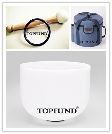 TOPFUND Frosted F Heart Chakra Quartz Crystal Singing Bowl with one Blue case all8