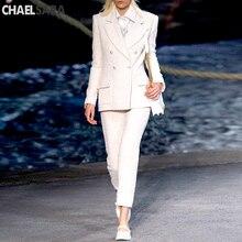 White Tweed Jacket Office Ladies 2020 New Elegant Double Breasted Frayed Trim Be