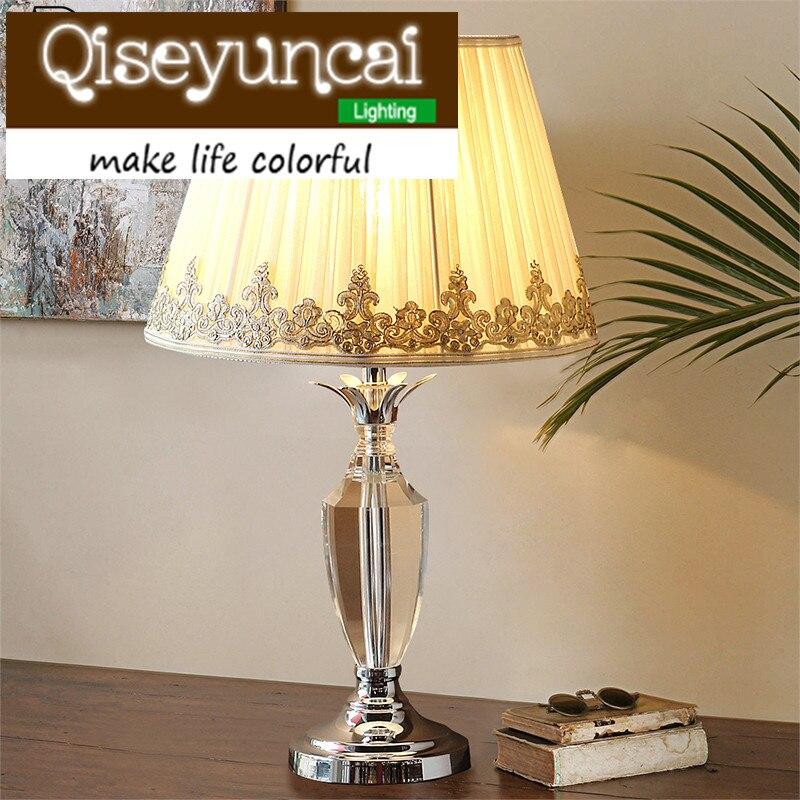 Qiseyuncai European style The wedding cozy bedroom K9 crystal table lamp modern simplicity luxury high-end fashion lighting