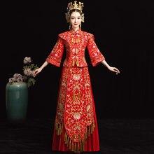 e13bd03e5d401 Robe traditionnelle Chinoise rouge de mariage Qipao Su Robe de broderie Robe  de mariée moderne Cheongsam Chinoise Style Oriental.