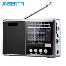 JINSERTA Portable FM/AM/SW Radio Multi Band HI FI Radio Speaker with Flashlight Support TF Card/U Disk Headphone Play