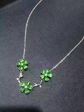 Natural green Tsavorite Necklace natural green garnet Pendant Necklace S925 Sterling silver trendy Flowers women party Jewelry