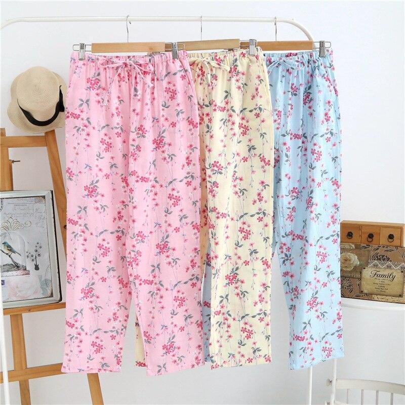 Ladies Sleep Bottoms Plus Size 100% Cotton Pajamas Pants Cotton Small Floral Home Pants Spring and Autumn Thin Pajamas Trouser