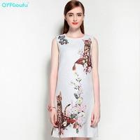 High Quality Autumn Fashion Designer Runway Dress Women's Sleeveless White Beading Jacquard Animal Printed Short Dress