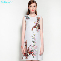 High Quality Autumn Fashion Designer Runway Dress Women S Sleeveless White Beading Jacquard Animal Printed Short