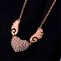 European And American Fashion Jewelry Wholesale Factory Direct Inlaid Artificial Heart Soar Terrible Shape Necklace Ms