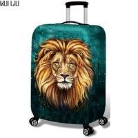 Verdickt Gepäck Schutzhülle für 18-30 Zoll Trolley Fällen Wasserdichte Elastische Koffer Tasche Staub Regen Abdeckungen lion leopard