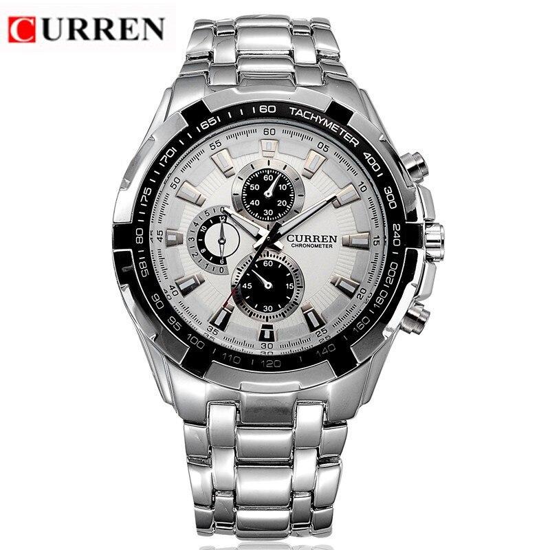 CURREN 8023 männer Uhren Marke Luxus Männer Military Armbanduhren Voller Stahl Männer Sport quarzuhr Wasserdicht Relogio Masculino