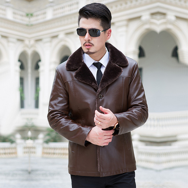 turn down fur collar winter coat middle-aged men thick velvet Men's Leather Jacket Down Coat Winter Jackets for Men Down Jacket