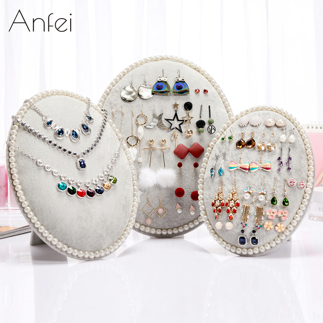 Earrings Display Earring Organizer Velvet Rack Earring Storage Board Pearl  Trim Semi Ellipse Jewelry Display