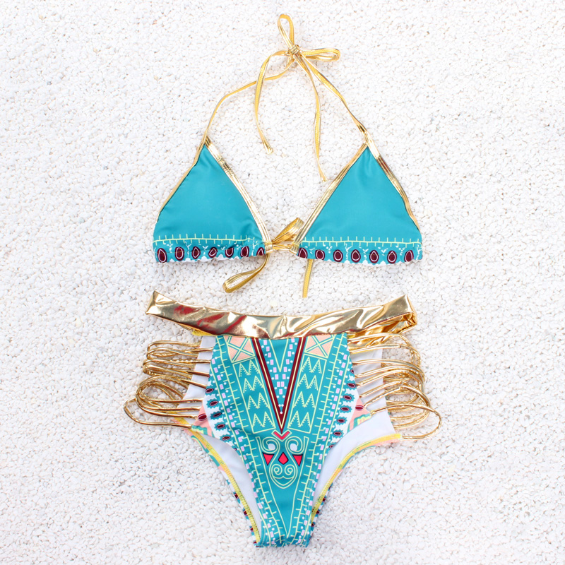 Sexy Triangle Bikini Set Women Swimsuit Push Up 2017 Gold Bordered Brazilian Beach Female Swimwear Summer