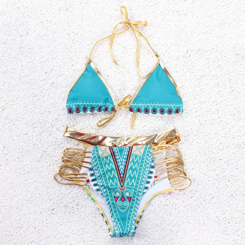 Sexy Triangle Bikini Set Women Swimsuit Push Up 2017 Gold Bordered Brazilian Beach Female Swimwear Summer