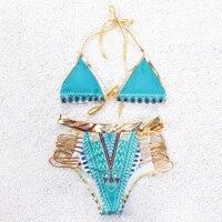 Sexy triangle bikini set kobiety swimsuit push up 2017 złota graniczy Brazylijskich plaży kobiece stroje kąpielowe lato pływać nosić strój kąpielowy