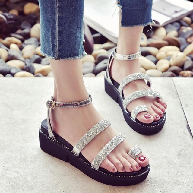 789169d3567f 2018 summer women sandals flat platform sandals bling decor women flat  sandals zapatos mujer plataforma high quality