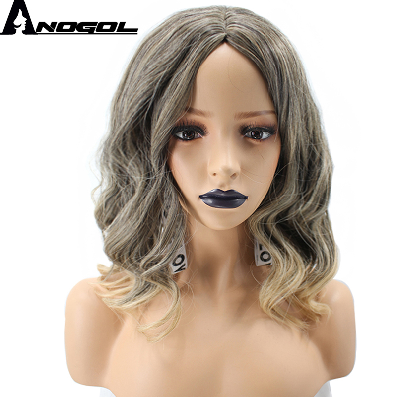 Anogol 2 Tones High Temperature Fiber Middle Part Natural Body Wave Blonde Ombre Dark Roots Synthetic Wig For Womens Ladies Girl ...