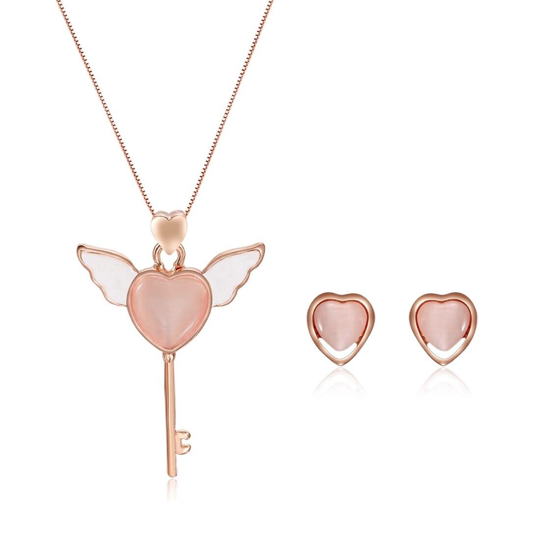 Jewelry-Set Pendant Necklace Stud-Earrings Hart Women Fashion Elegant Key Opal-Key