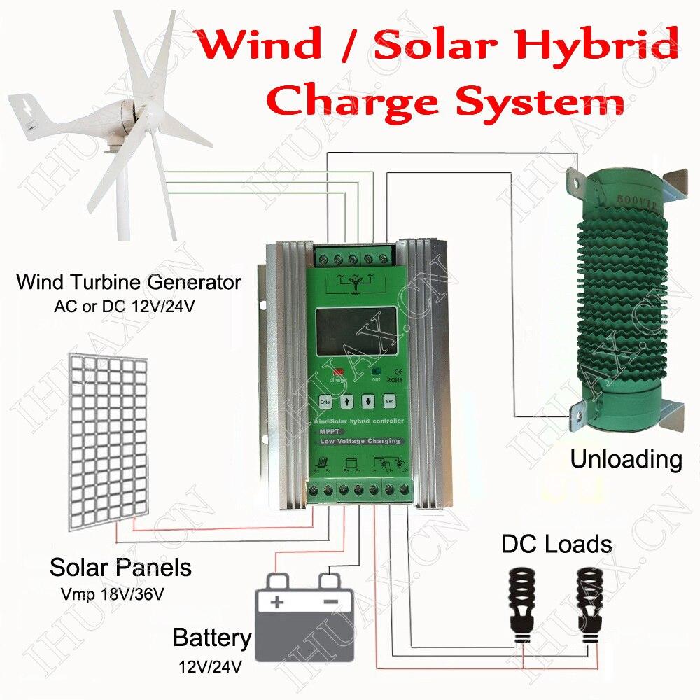 MPPT wiatru słonecznego hybrydowy sterownik ładowania 300W 400W 500W 600W wiatr generator z turbiną kontroler i 200W 300W 400W kontroler słoneczny