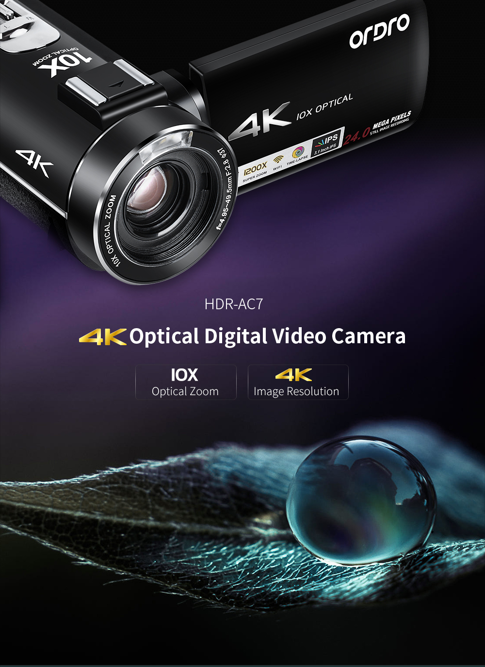 Ordro AC7 4K UHD Digital Video Cameras Camcorders FHD 24MP WiFi IPS Touch screen 100X Digtal Zoom 12X Optical 1200x Super Zoom DV Mini Camcorders (1)
