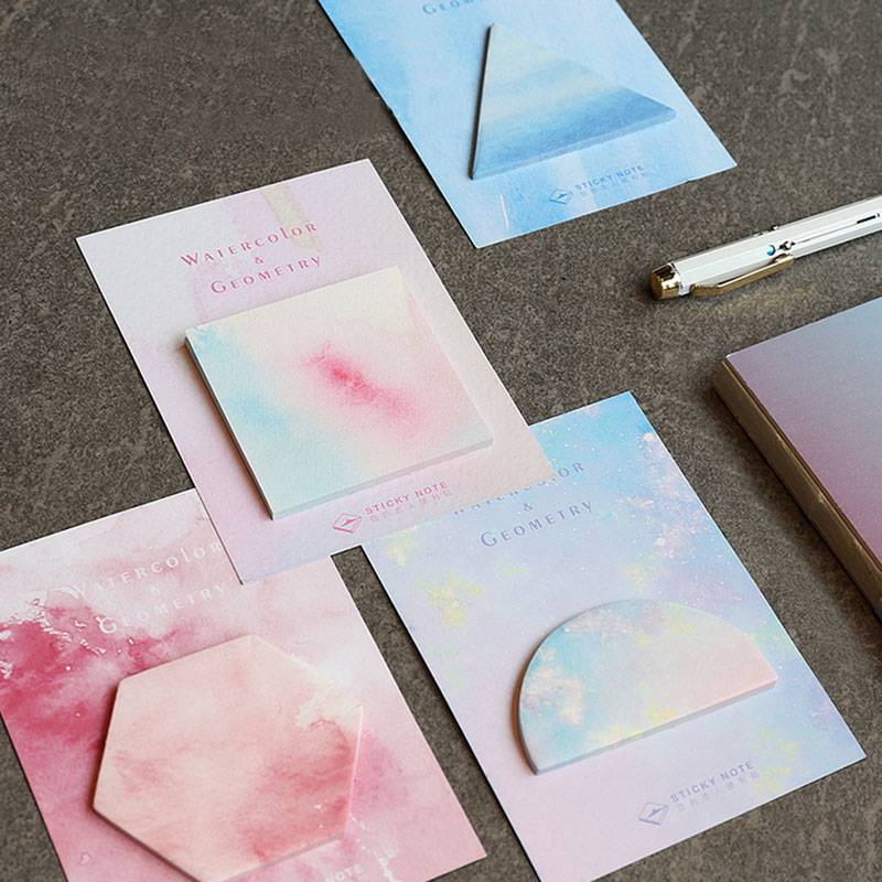 1 PCS Watercolor Geometry Memo Pad Paper Post-It Notes Sticky Notes Notepad Stationery Papeleria Office School Supplies rainbow northern europe memo pad paper sticky notes notepad post it stationery papeleria school supplies material escolar