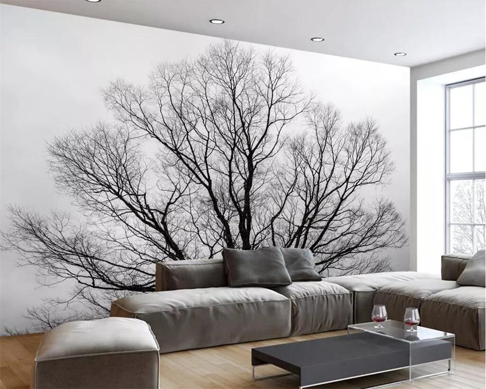 Beibehang Mural Wallpaper Modern Minimalist Black And