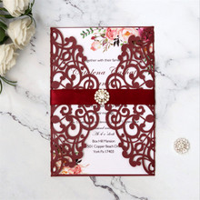 Burgundy invitation cards birthday party with lace diamond elegant wedding card supply customized printing