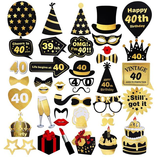 42 Pcs Glitter Photo Booth Props Kit For 40th Birthday Decoration Moustache Red Lips Bow Ties Eyeglasses Funny Images Pose Sign