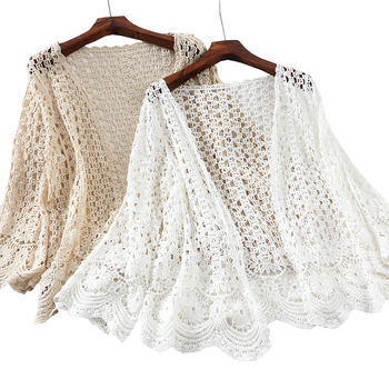 Kimono Cardigan Women Crochet Blouse Summer Cardigan Long Sleeve Embroidery White Shirt Hollow Out Clothes Beach Wear Coat Tunic цена 2017