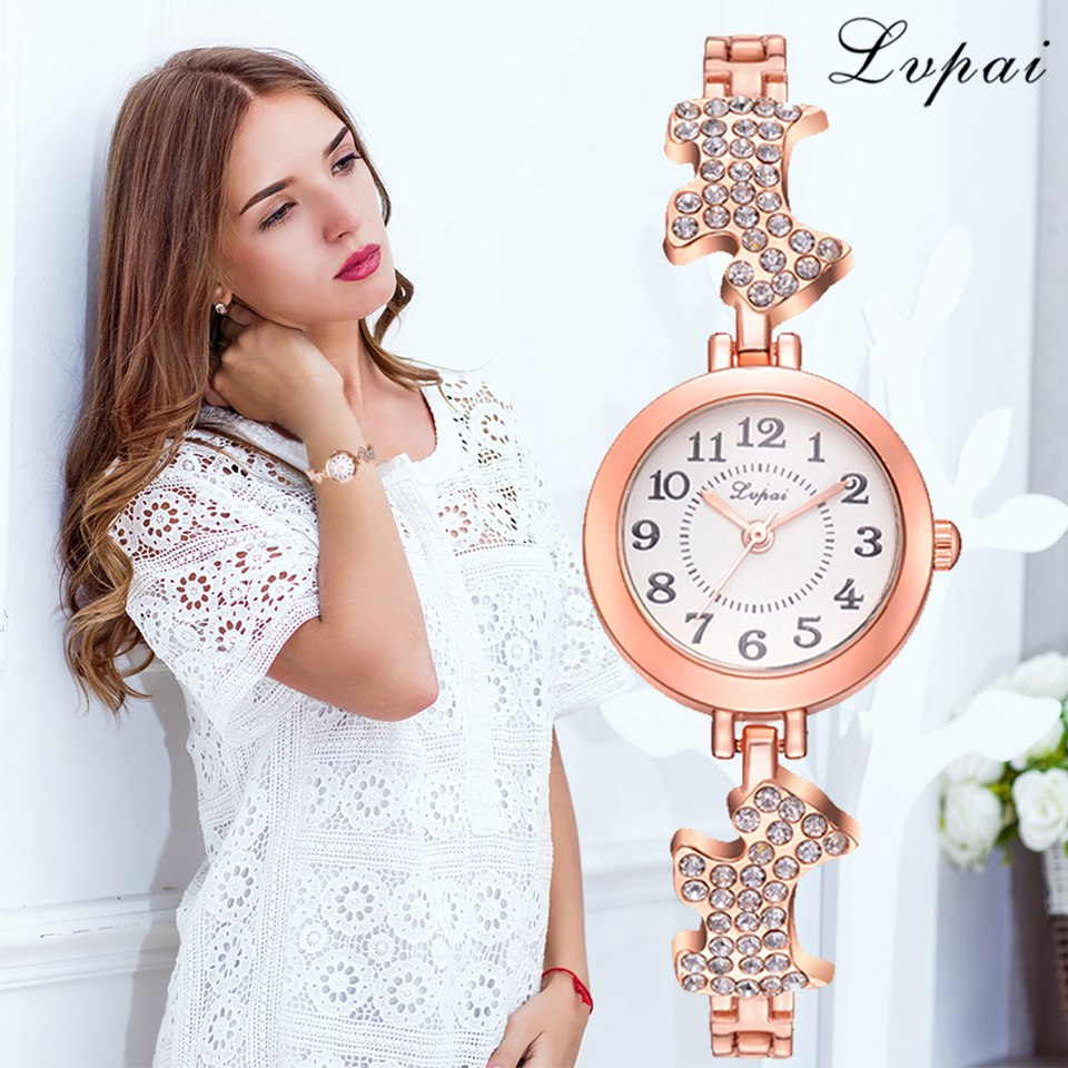 Lvpai Brand Dog Desgin Famous Bracelet Quartz Clock Luxury Rhinestone Band Dress Ladies Creative Watch Relogio Feminino