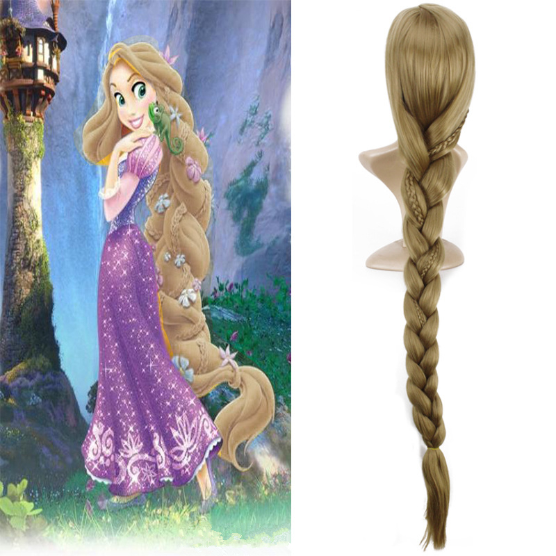 Hot Anime Tangled Rapunzel Princess Cosplay Wig Halloween Long Braid Play Wig Party Stag ...