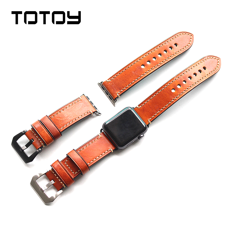 TOTOY For Apple Watch Watchband,Handmade Italian Leather Watchbands, Cow Leather Men's 42MM Strap, Fast Shipping fast talk italian
