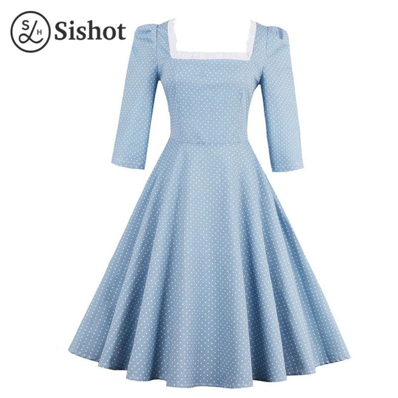 Sishot women vintage dresses 2017 summer light blue a line square collar half sleeve polka dots patchwork lace up retro dress