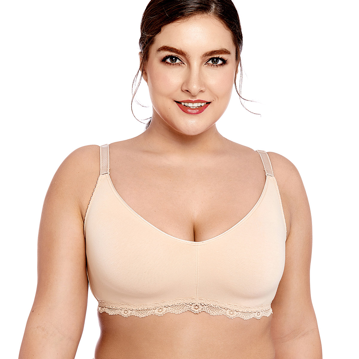 86d63c84fe700 Women s Lace Soft Wirefree Non Padded Full Coverage Cotton Bra Plus Size 34-46  B C D