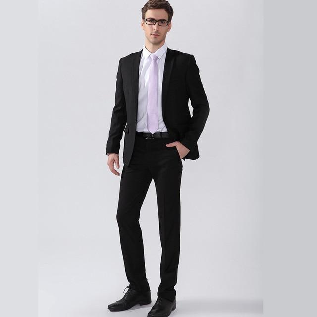 5942f215076 2015 European American Style Brand Slim Fit Men Business Suits Black Color  Formal Vetement Homme
