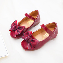 Spring Autumn bowknot Girls Princess Shoes For Kids Black Leather Student Pink Red 3 4 5 6 7 8-15T