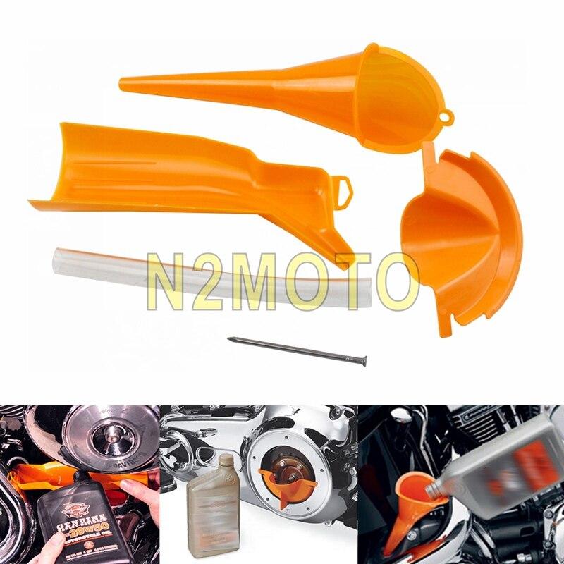 Outil d'entonnoir de remplissage d'huile de caisse primaire de moto de voiture en plastique Orange pour Harley Sportster 883 1200 XL XR Softail Dyna Touring Trike