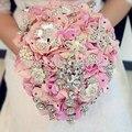 Роскошный Ручной работы высокого качества Брошь невесты Свадебное свадебный букет невесты горничная стразы Искусственный розовый SP8595s