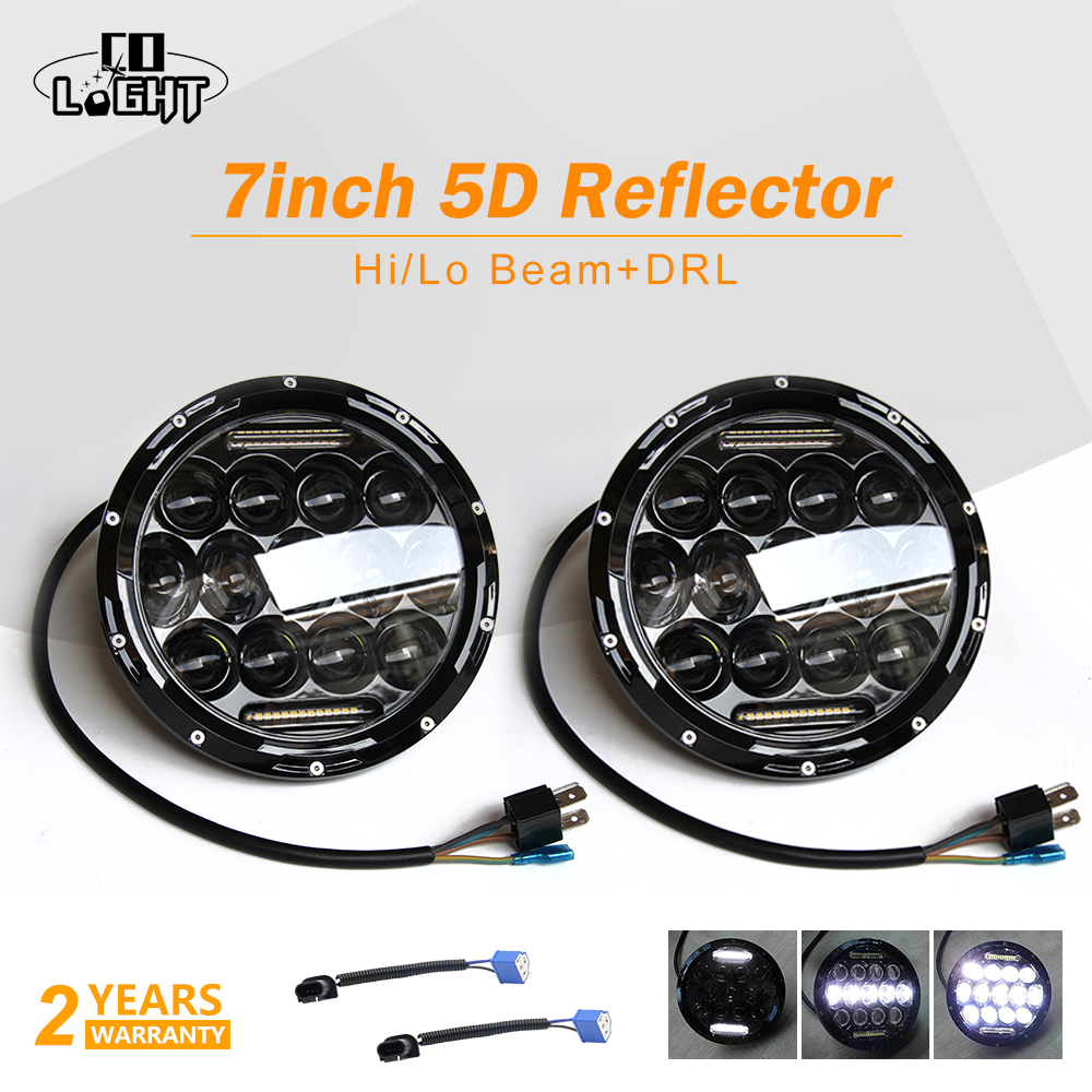 CO LIGHT 1 Pair Running Lights 75W Car Led H4 7inch Car Accessories 35W Angel Eyes H4 Led Headlight For Lada Niva 4X4 Uaz Hunter led headlight lights angel eyes