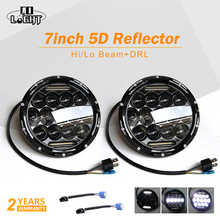 CO LIGHT Led Headlight 7 inch 75w 35w H4 H13 Hi-Lo Beam The Daytime Running Light for Jeep Wrangler JK TJ Lada Niva Black&Silver 7inch led headliht for jeep tj jk led headlight high power auto h4 130w car light for lada niva 4x4 tj jk off road driving light