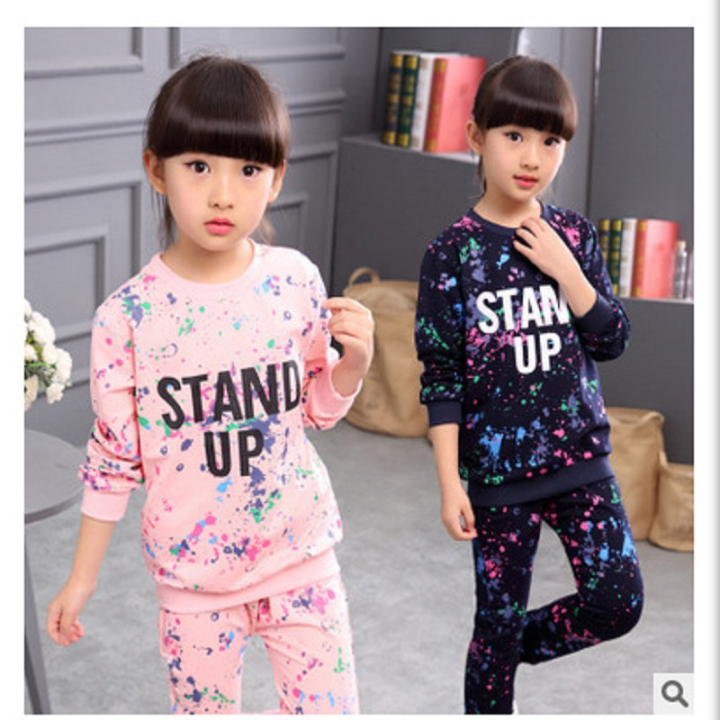 Girls Tracksuit Kids Clothing Sets Star Sky Dot Tops Harem Pants Children Navy Blue Pink for 4 6 8 10 12 Ages Hip-hop Sport Suit writing for literacy for ages 7 8