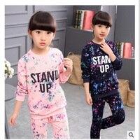 Girls Tracksuit Kids Clothing Sets Star Sky Dot Tops Harem Pants Children Navy Blue Pink For