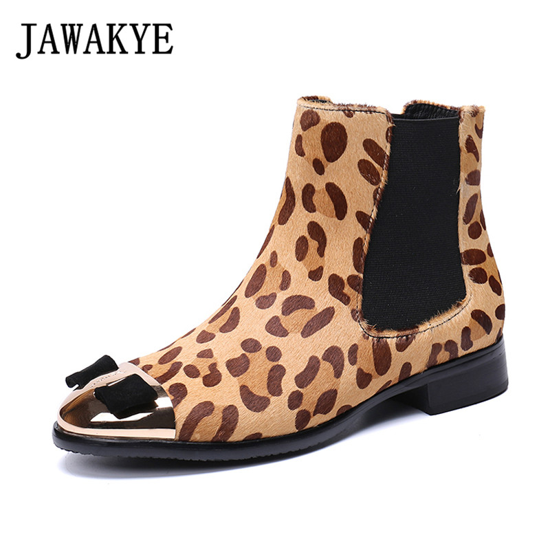 2018 Leopard horse hair Ankle Boots for women round metal toe bowties short botas mujer flat
