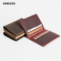Brand Vintage Handmade 100 Genuine Crazy Horse Leather Cowhide Mens Short Slim Wallet Wallets Purse Card