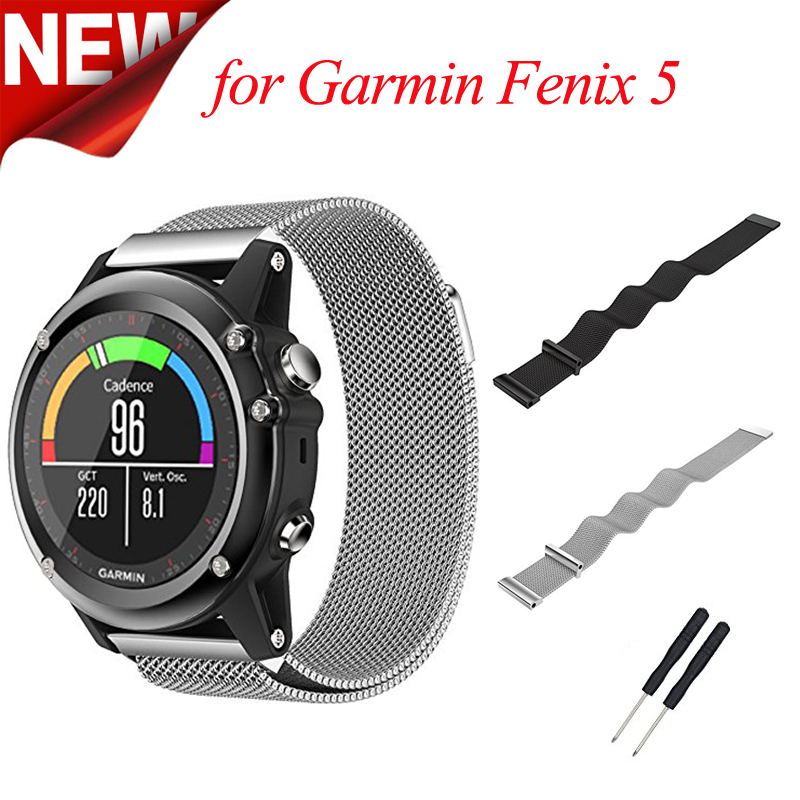 22mm Width Milanese Magnet Strap for Garmin Fenix 5 Plus Band Stainless Steel Watch Band for Garmin Fenix 5 Metal Bracelets garmin fenix 5 sapphire black black band
