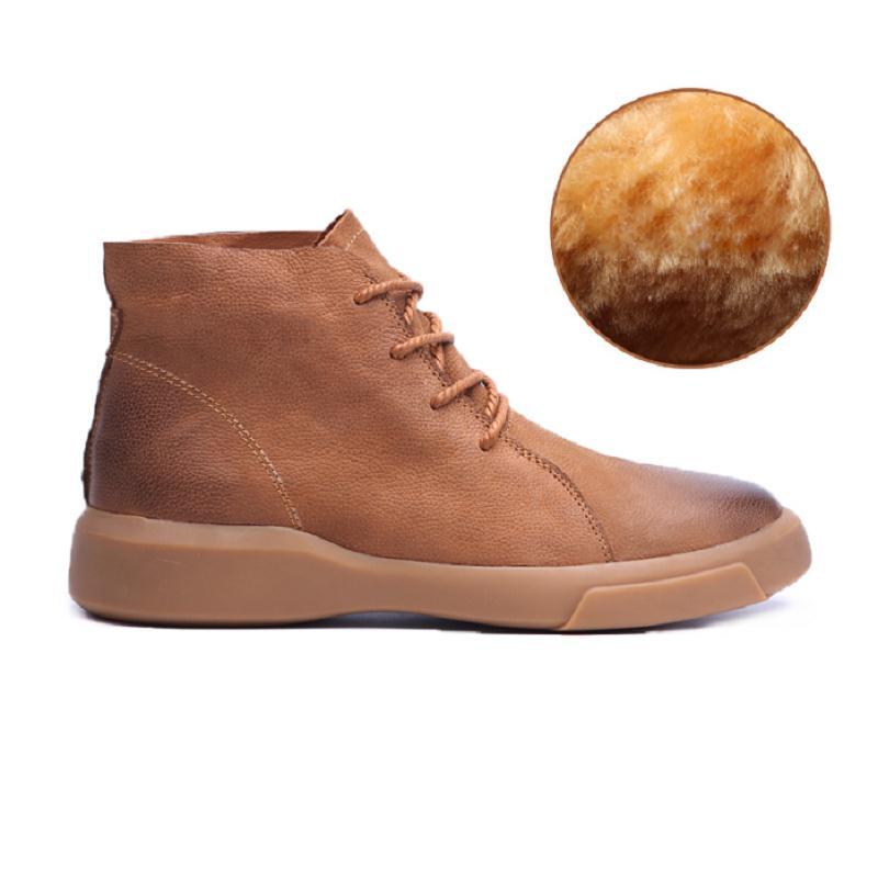 214ff2797 Água Homem Para Nova Retro Livre Sapatos Prova Schoenen Mycolen Couro Ajuda  De plush brown Ao Black plush Martin Moda Dos Botas ...