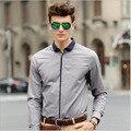 2016 New Arrival Top Quality Brand Mens Shirts Fashion Harmonia Collar Dress Men Shirt Men Long Sleeve Business Shirts M-5XL