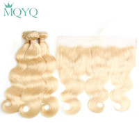 MQYQ 613 Bundles With Frontal Russian Hair Blonde 2/3 Bundles With Closure Body Wave Human Hair Weave Bundles With Frontal