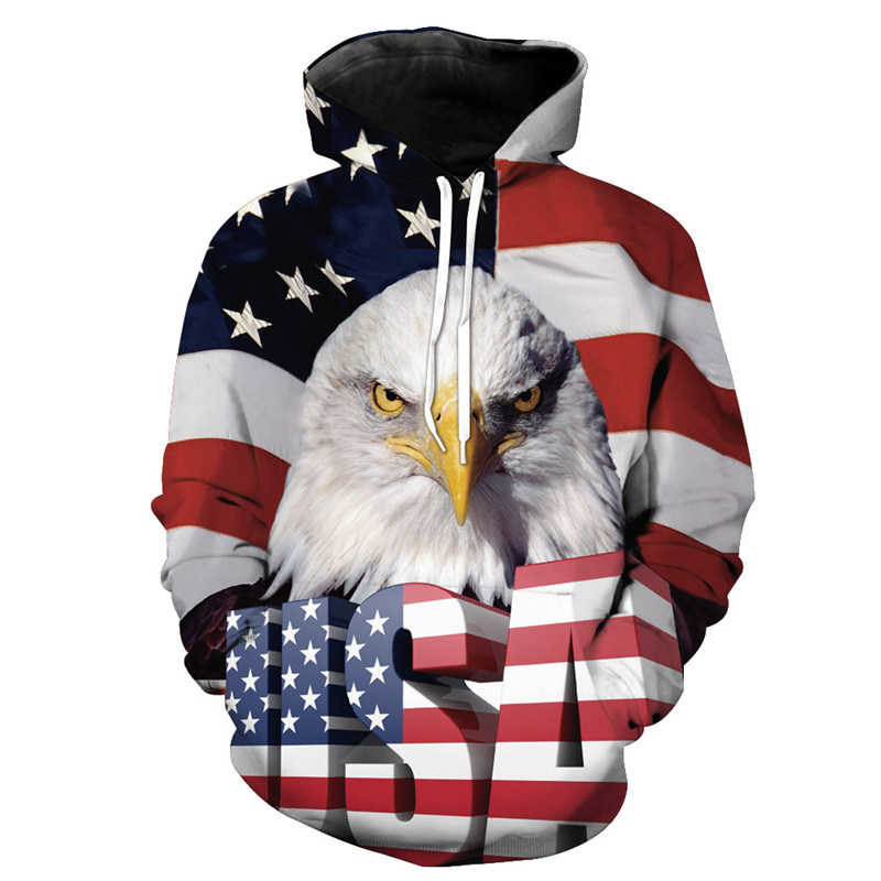 BZPOVB with American flag Eagles retro Classic Hoodies Tigle Lion 3d Print Men Women Streetwear hoody Sweatshirt Drop shiping