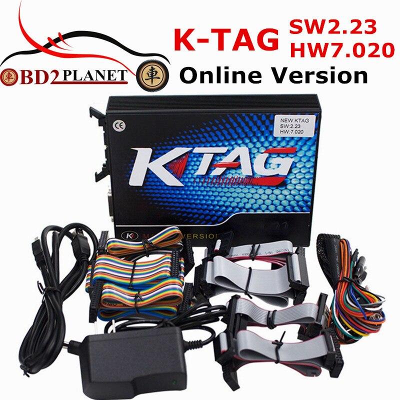 KTAG V7.020 Firmware Unbegrenzten Tokens K TAG V2.23 Online Version Mehr Protokolle ECU Programmierer Werkzeug K-TAG SW 2,23 FW 7,020